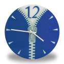 Horloge murale avec zip bleu fermeture éclair