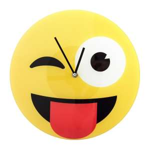 Horloge murale en forme de smiley Clin d'oeil emoj