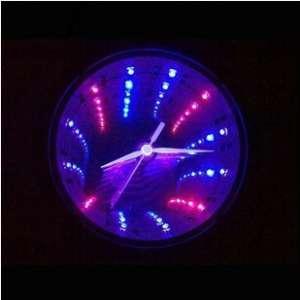 Horloge tunnel à LED lumineux LED rouge et bleu