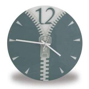 Horloge avec motif Zip grise fermeture éclair