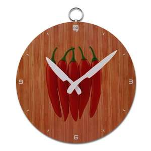 Horloge murale assiette de piments rouges