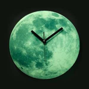 Horloge murale forme de lune phosphorencent