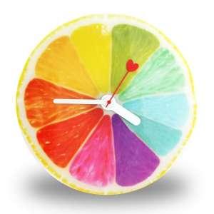 Horloge cuisine multicolore en forme de demi citron agrume