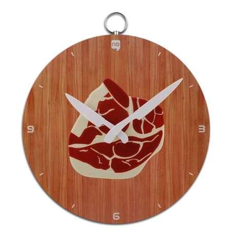 Horloge assiette avec côte de porc