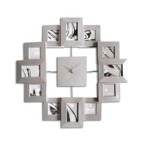 Horloge murale avec 12 cadres photos argentés