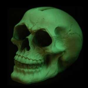 Tirelire tête de mort fluorescente brillant dans la nuit