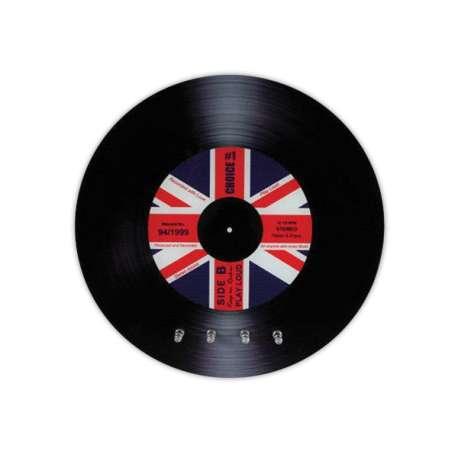 Accroche-clés en forme de disque vinyle avec drapeau du Royaume-Uni