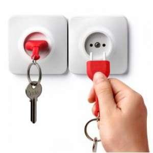 Porte-clés prise électrique avec son support mural