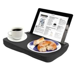 Plateau coussin avec support tablette et repas