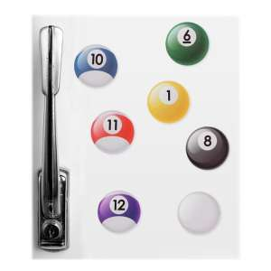Lot de 7 aimants forme boule de billard magnet