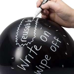 20 Ballons ardoise noir avec stylo craie et 20 bâtonnets