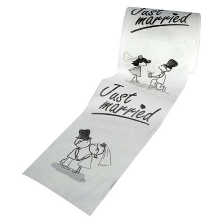 Papier toilettes aux images de jeunes mariés Just married mariage