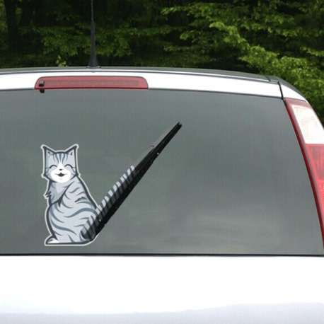 Autocollant sticker un chat à queue essuie glace