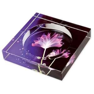 Cendrier en verre impression fleurs de lotus colorées
