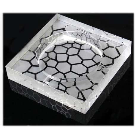 Cendrier carré en verre gravé galets
