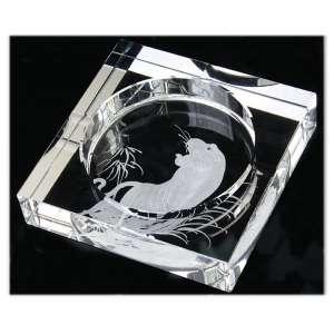 Cendrier carré en verre gravé tigre
