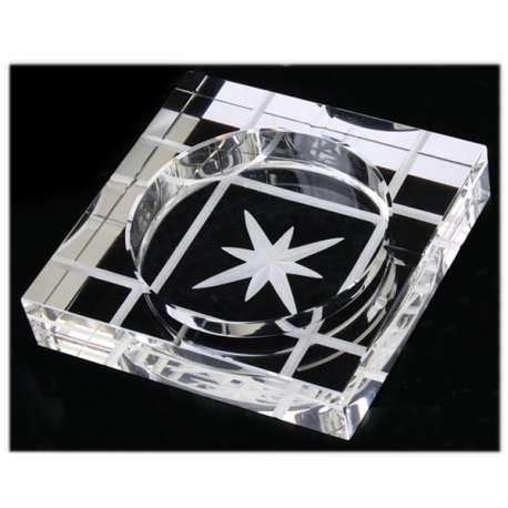 Cendrier carré en verre gravure étoile
