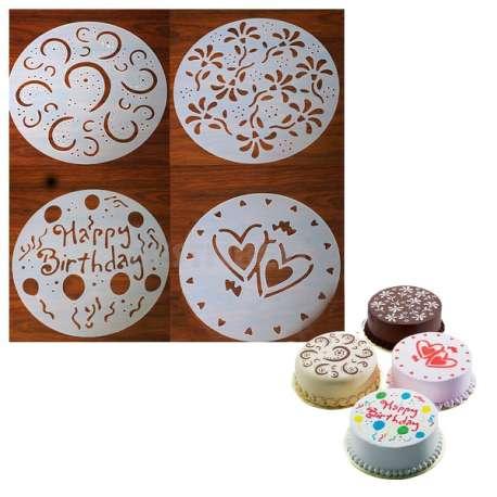 4 pochoirs pour gâteau pour cake rond décoration