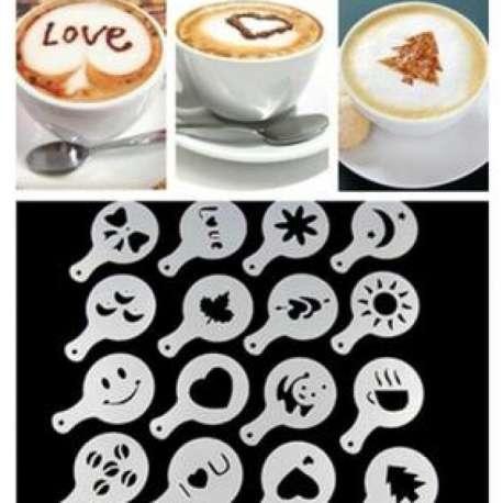 Pack de 16 pochoirs décoration pour tasse de café