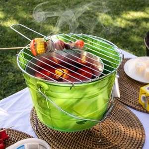 Seau à barbecue charbon avec grille de cuisson avec manche