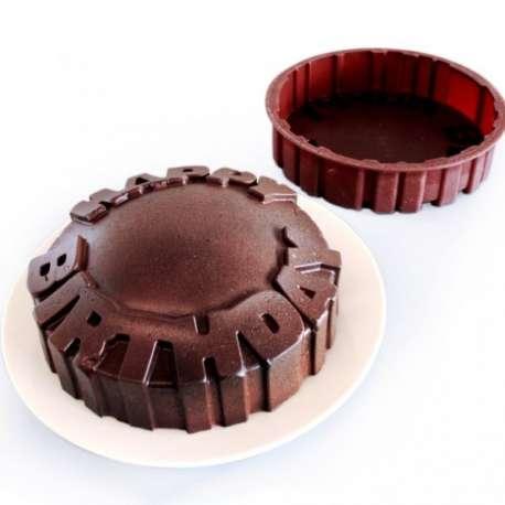 Moule à gâteau silicone inscription happy birthday
