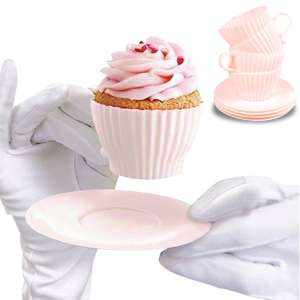 4 moules à muffin silicone en forme de tasse mug 4 sous-tasses