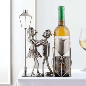 Porte-bouteille métallique couple amoureux