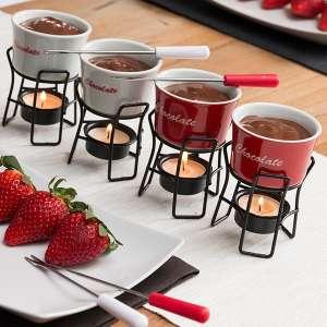 Set de 4 mini-fondues pour chocolat en céramique
