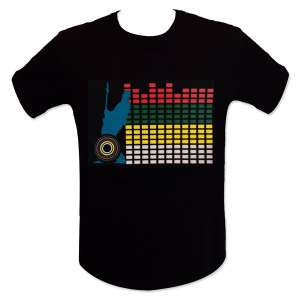 T-shirt equalizer guitariste lumineux LED mur de son