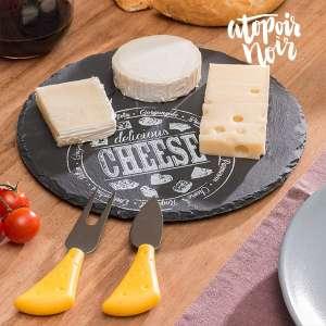 Set plateau fromage en ardoise rond avec 1 fourchette et 1 couteau