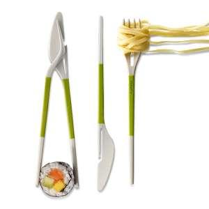 Baguettes chinoises et couteau fourchette 2 fonctions