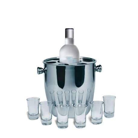 seau r frig rant bouteille champagne boisson alcool avec 6 verres totalcadeau. Black Bedroom Furniture Sets. Home Design Ideas