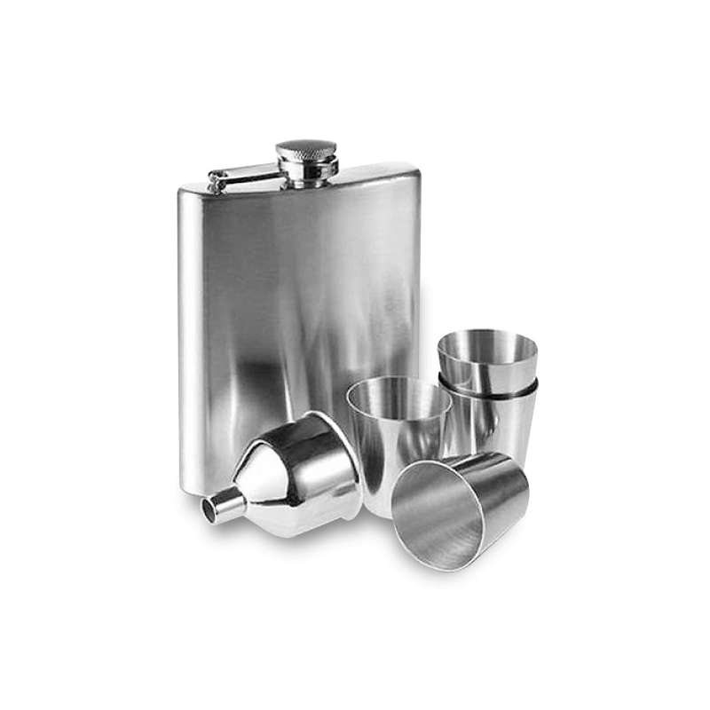 Coffret flasque en inox 4 verres shot et accessoires for Recipient inox cuisine