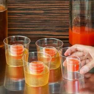 Lot de 4 verres à double récipients avec shooter bombe shooters