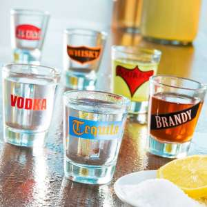 Lot de 6 verres à shot à nom d'alcool shooter spiritueux