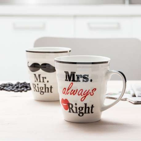2 tasses Monsieur et Madame Right mug Mr et Mrs