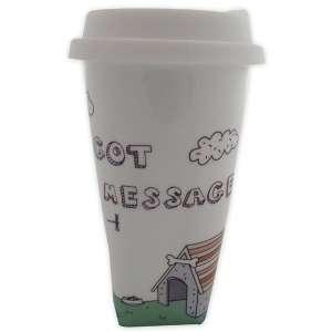 Tasse en céramique transportable avec message mug + couvercle