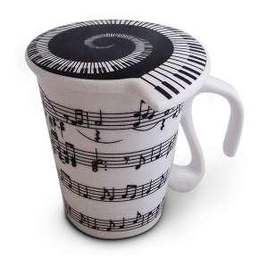 Tasse notes de musique en céramique mug avec couvercle
