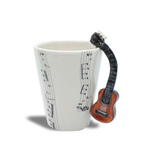 Tasse musique en céramique avec anse guitare sèche