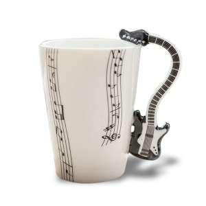 Tasse anse en guitare noire mug porcelaine
