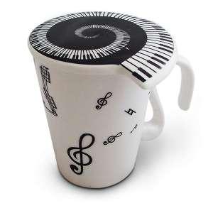Tasse clés de sol en céramique mug avec couvercle