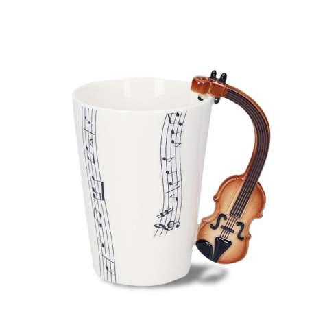 Tasse céramique avec poignée en forme de violon