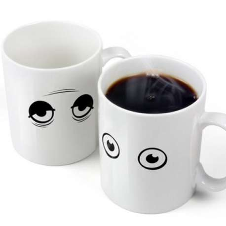 Tasse thermo-changeante yeux endormis mug thermo-réactifs