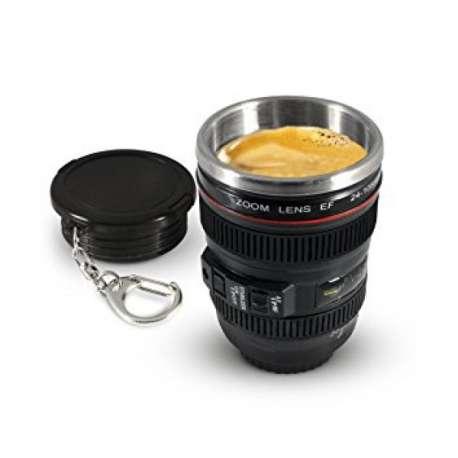Porte clés petit mug thermos objectif appareil photo tasse objectif