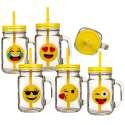 Une tasse vintage emoji mug verre motif émoticône couvercle paille