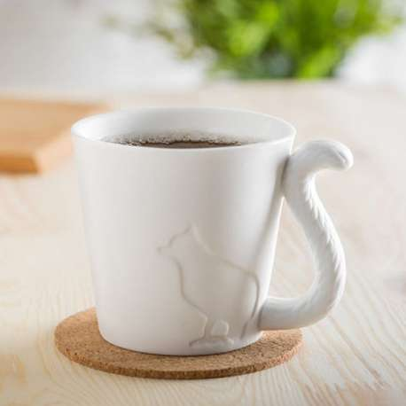 Mug en céramique chat avec anse queue de l'animal