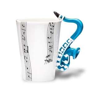 Tasse mug blanche à partitions de musique anse saxophone céramique