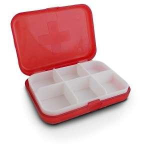 Boite rectangulaire à 6 compartiments pour rangement de médicaments