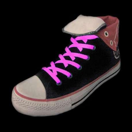 Paire de lacets roses fluorescent pour chaussures