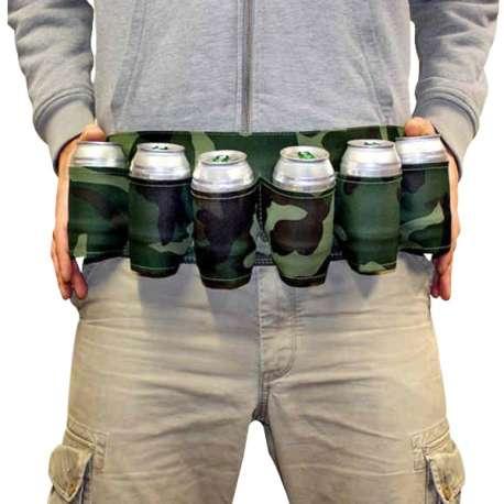 Ceinture de bière camouflage militaire 6 supports à canette